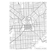 Adelaide Map, Australia - Black and White Photographic Print