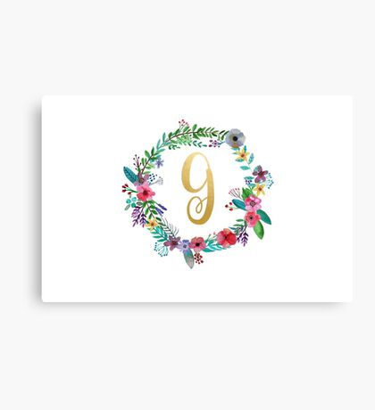 Floral Initial Wreath Monogram G Canvas Print