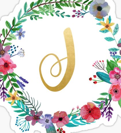 Floral Initial Wreath Monogram J Sticker