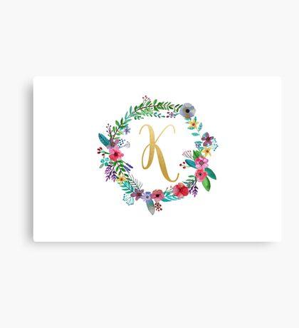 Floral Initial Wreath Monogram K Canvas Print