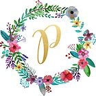 Floral Initial Wreath Monogram P by laurajoy16