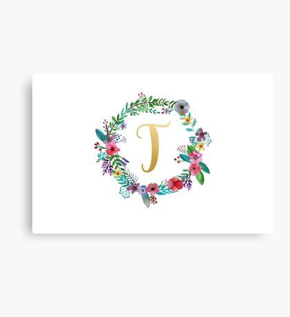 Floral Initial Wreath Monogram T Canvas Print