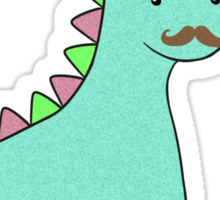 Cute Blue Dinosaur Mustache Sticker