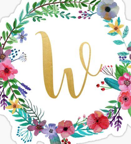 Floral Initial Wreath Monogram W Sticker