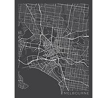 Melbourne Map, Australia - Gray Photographic Print
