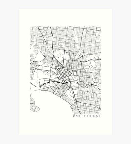 Melbourne Map, Australia - Black and White Art Print