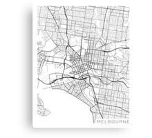 Melbourne Map, Australia - Black and White Canvas Print