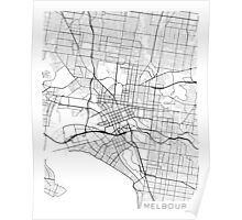 Melbourne Map, Australia - Black and White Poster