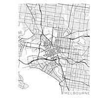 Melbourne Map, Australia - Black and White Photographic Print