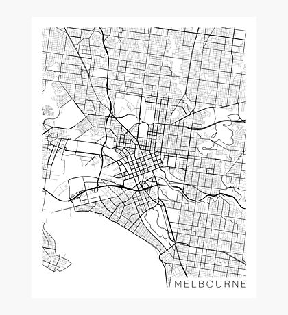 Melbourne Map, Australia - Black and White Photographic Print