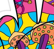 Magic mushroom pattern hippie victory hand  Sticker