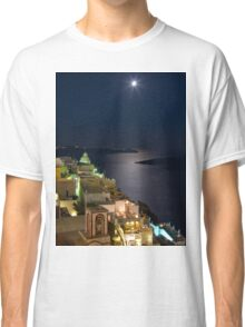 Santorini Fira Greek moonrise Classic T-Shirt