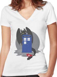 Toothless TARDIS Women's Fitted V-Neck T-Shirt