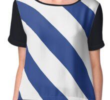 Durham New Hampshire Blue & White Team Color Stripes Chiffon Top