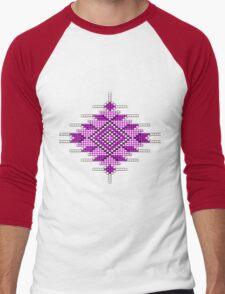 Pink Native American-Style Sunburst Men's Baseball ¾ T-Shirt