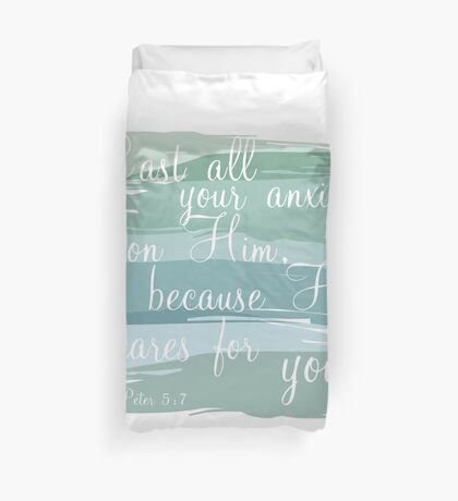 1 Peter 5:7 Duvet Cover