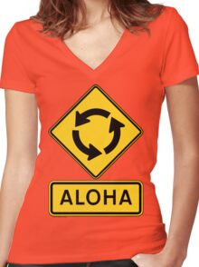 Aloha Circle Sign Design Women's Fitted V-Neck T-Shirt