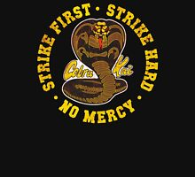 Cobra Kai - Strike First - Strike Hard - No Mercy - Distressed Variant Womens Fitted T-Shirt