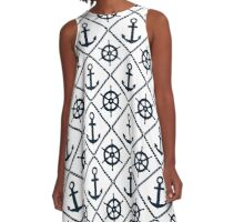 Anchor and Wheel Nautical - Navy and White A-Line Dress
