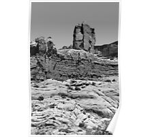Rock Formations 2 Arches National Park BW Poster