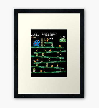 Adventure Time Donkey Kong Arcade game 80s retro Framed Print