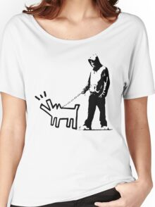 Banksy Walking The Dog Women's Relaxed Fit T-Shirt