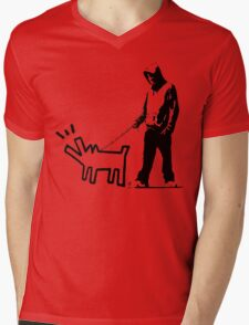 Banksy Walking The Dog Mens V-Neck T-Shirt