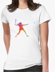 Woman tennis player 01 in watercolor Womens Fitted T-Shirt