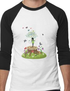 Tree Stump and Fairy 2 Men's Baseball ¾ T-Shirt