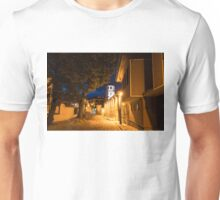 Of Cobblestone Streets and Bell Towers - Yellow Lit Night in Old Town Plovdiv, Bulgaria Unisex T-Shirt