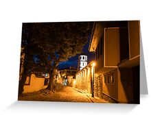 Of Cobblestone Streets and Bell Towers - Yellow Lit Night in Old Town Plovdiv, Bulgaria Greeting Card