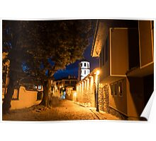 Of Cobblestone Streets and Bell Towers - Yellow Lit Night in Old Town Plovdiv, Bulgaria Poster