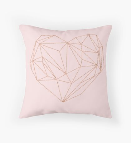 Rose gold geometric heart Throw Pillow