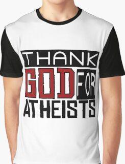 Thank God Atheism Atheist Anti Religion Text Graphic T-Shirt