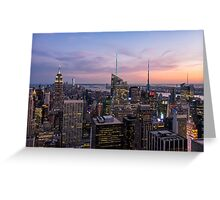 Blue hour skyline seen from Top Of The Rock Greeting Card