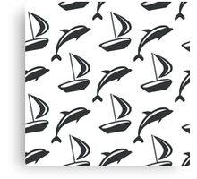 Boat and dolphin seamless monochrome pattern. Simple marine background. Canvas Print