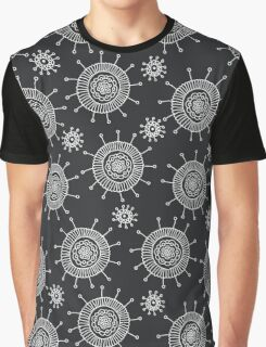 Simple doodle flower black pattern. Seamless abstract background.  Graphic T-Shirt