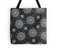 Simple doodle flower black pattern. Seamless abstract background.  Tote Bag