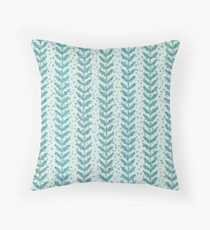 Seaweed seamless transparent pattern. Blue water wallpaper. Throw Pillow