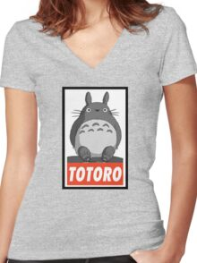 (MANGA) Totoro  Women's Fitted V-Neck T-Shirt