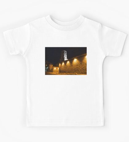 Of Stone Walls and Bell Towers - Yellow Lit Night in Old Town Plovdiv, Bulgaria Kids Tee