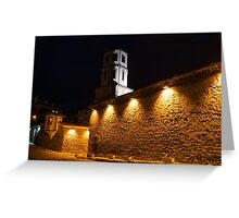 Of Stone Walls and Bell Towers - Yellow Lit Night in Old Town Plovdiv, Bulgaria Greeting Card