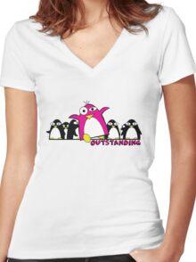Outstanding Penguin Women's Fitted V-Neck T-Shirt