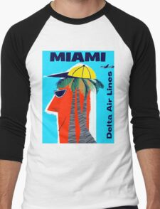 """DELTA AIR LINES"" Fly to Miami Print Men's Baseball ¾ T-Shirt"