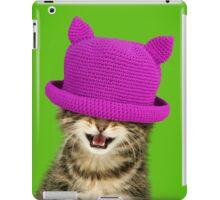 Cute Maine Coon kitten wearing a pink hat iPad Case/Skin