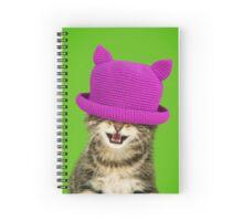 Cute Maine Coon kitten wearing a pink hat Spiral Notebook