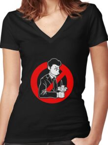 Evil and Greedy Corporation Women's Fitted V-Neck T-Shirt