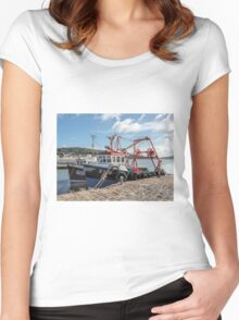 Fishing Boats At Lyme Regis Harbour Women's Fitted Scoop T-Shirt