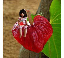 ANTHURIUM- HAWAIIN HEART FLOWER--LITTLE GIRL & WATERMELON A SUMMERS DELIGHT - PILLOW & TOTE BAG. Photographic Print
