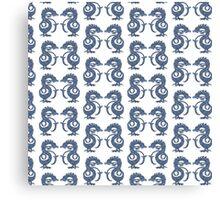 Dancing Dragons - White & Blue Canvas Print
